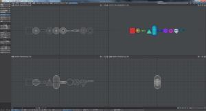 様々な形に様々なテクスチャを適用したオブジェクトが一列に並ぶ