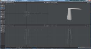 3Dキャラクター体作成、胴体にサブパッチをかけた様子