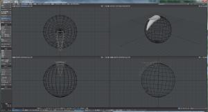 3Dキャラクター髪作成、下方向に曲げたものと、上方向に曲げたもの