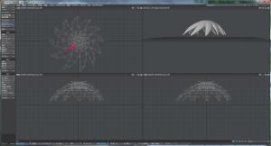 3Dキャラクター髪作成、中段部、磁力を追加