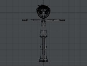 3Dキャラクターポージング、左半身だけスケルゴンを入れ終わった状態