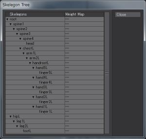 3Dキャラクターポージング、コピー前のスケルゴンツリー
