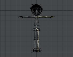 3Dキャラクターポージング、左半身のスケルゴンを右半身にコピーしたところ