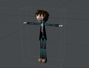 3Dキャラクターポージング、レイアウトにスケルゴン読み込み