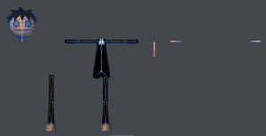 3Dキャラクターポージング、ウェイトづけの為にスケルゴンを再分配した様子