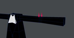 3Dキャラクターポージング、ポリゴンを追加するべきところ